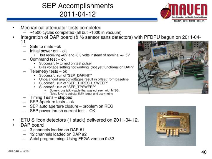 SEP Accomplishments