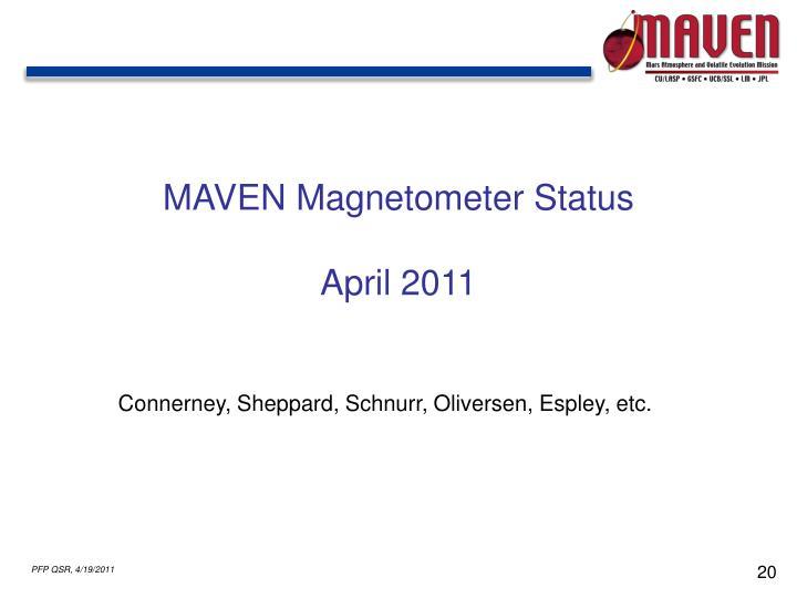 MAVEN Magnetometer Status