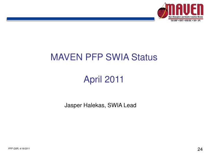 MAVEN PFP SWIA Status