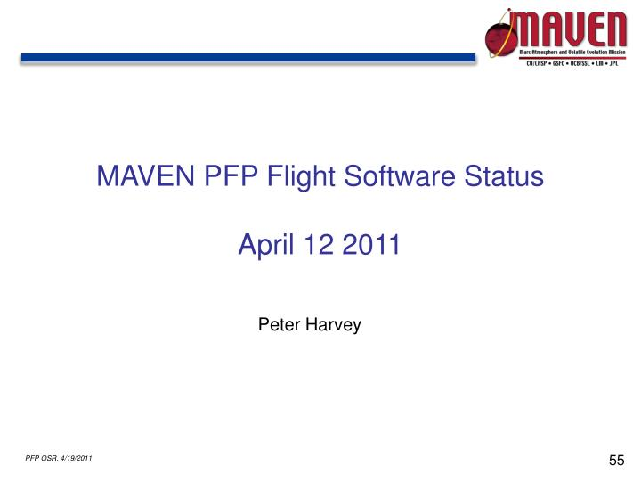 MAVEN PFP Flight Software Status