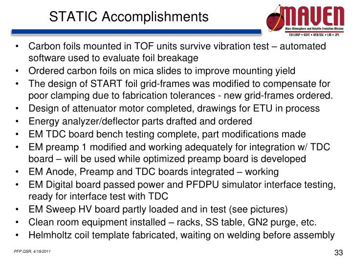 STATIC Accomplishments
