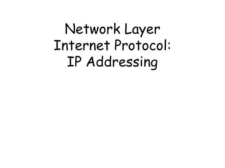 Network layer internet protocol ip addressing