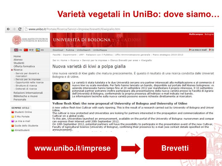 Varietà vegetali in UniBo: dove siamo…