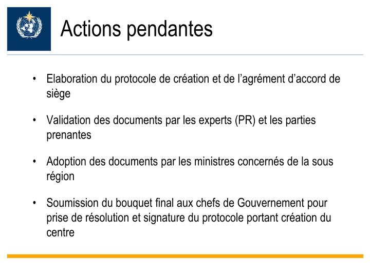 Actions pendantes