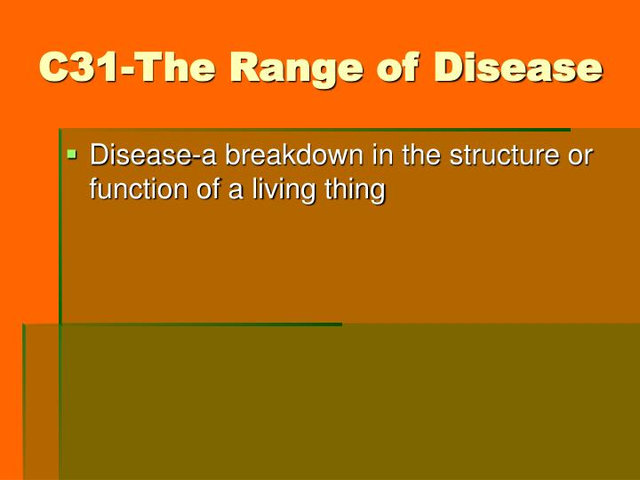 C31 the range of disease