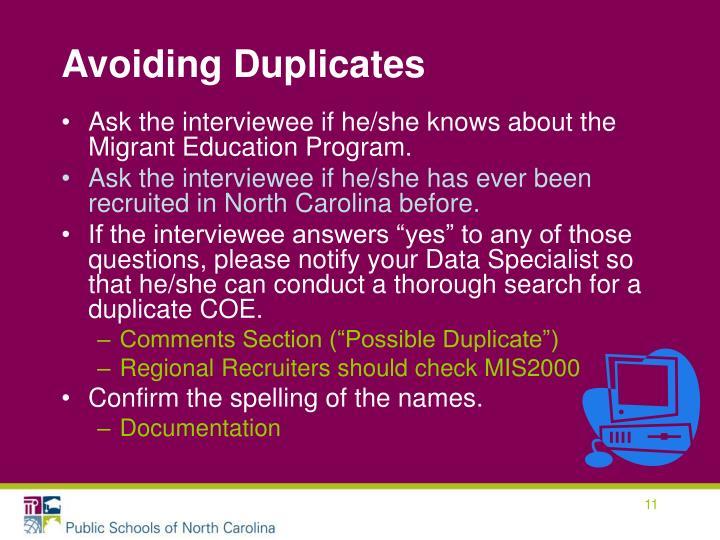 Avoiding Duplicates