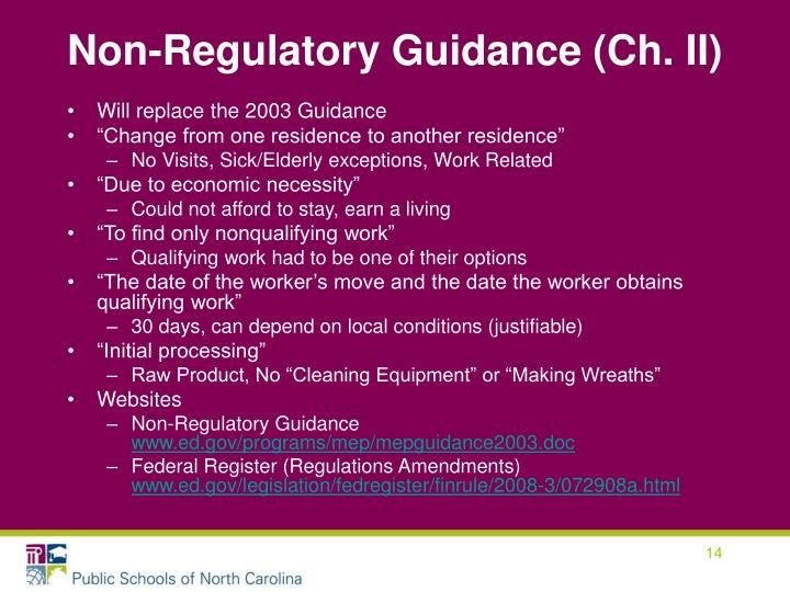 Non-Regulatory Guidance (Ch. II)