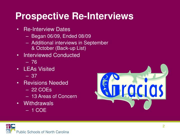 Prospective re interviews