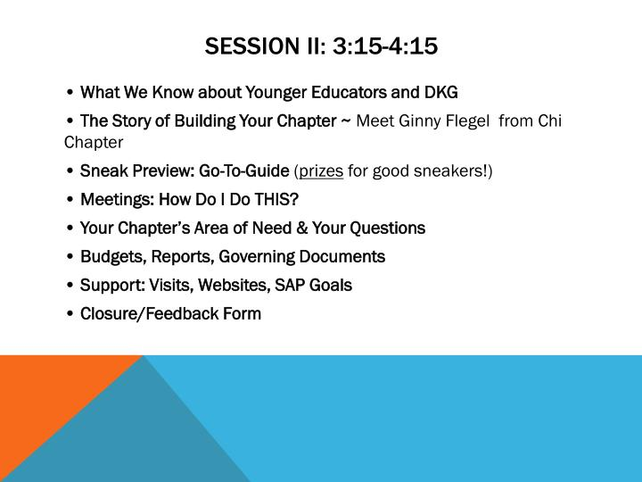 SESSION II: 3:15-4:15