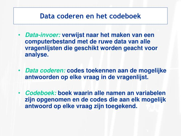 Data coderen en het codeboek