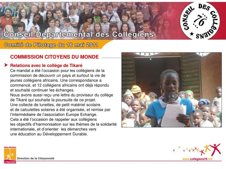 COMMISSION CITOYENS DU MONDE
