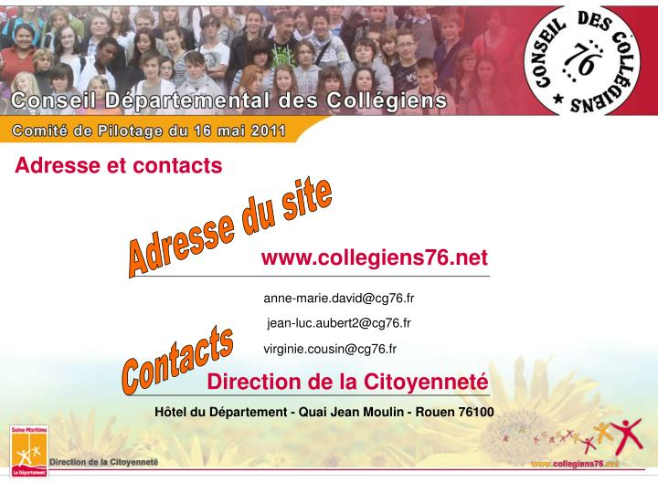 Adresse et contacts
