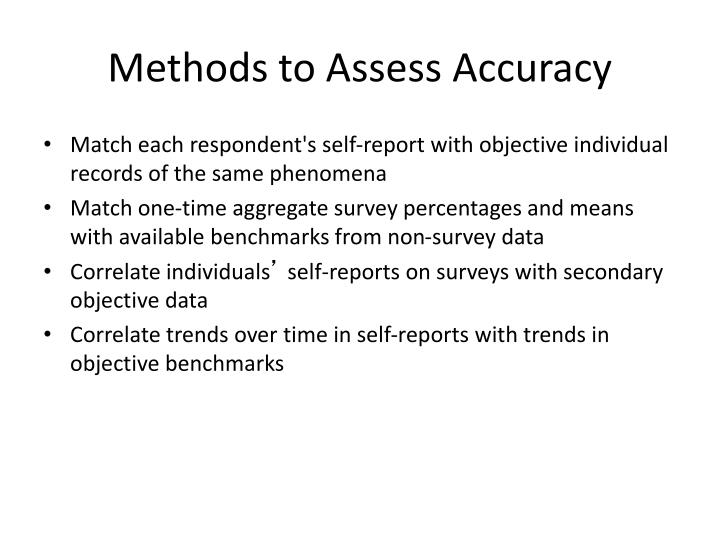 Methods to Assess Accuracy