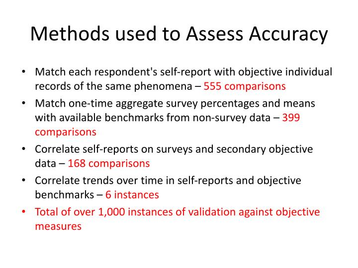 Methods used to Assess Accuracy