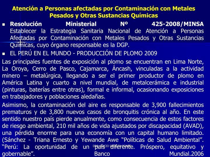 Atención a Personas afectadas por Contaminación con Metales Pesados y Otras Sustancias Químicas