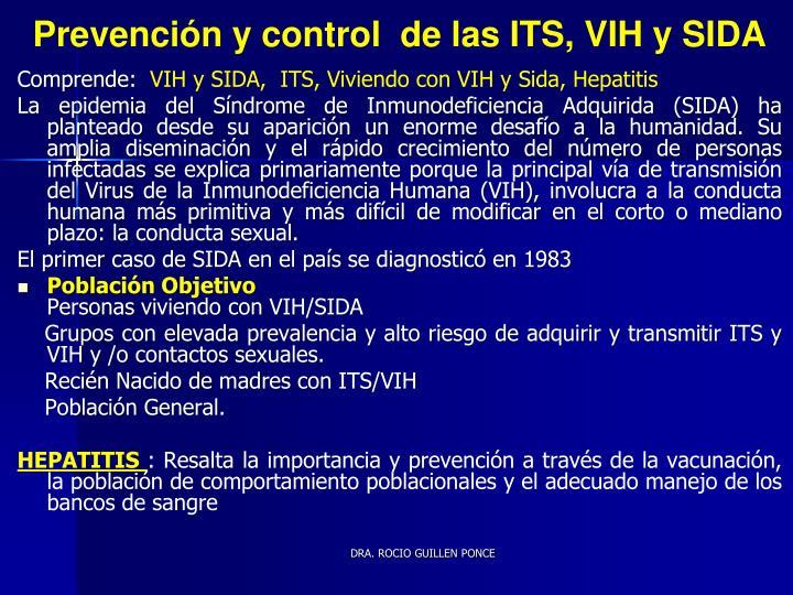 Prevención y control  de las ITS, VIH y SIDA