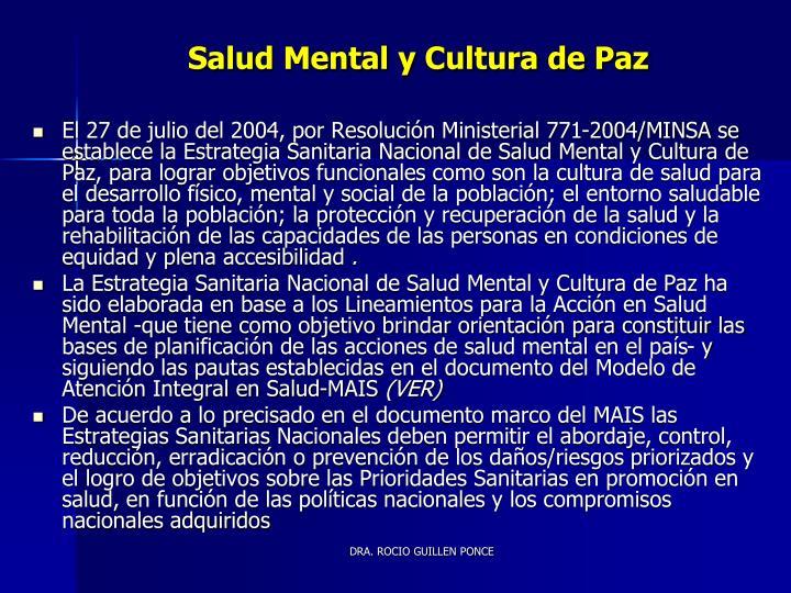 Salud Mental y Cultura de Paz