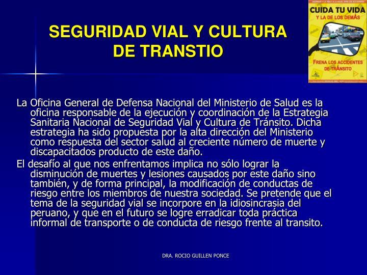 SEGURIDAD VIAL Y CULTURA DE TRANSTIO