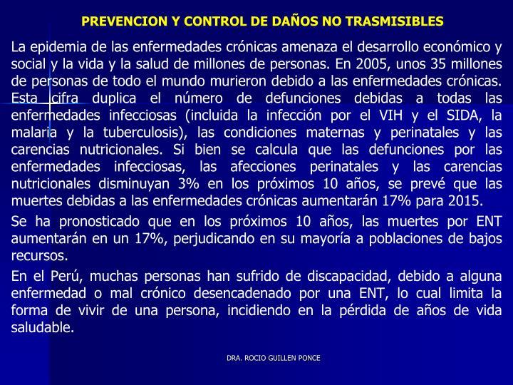 PREVENCION Y CONTROL DE DAÑOS NO TRASMISIBLES
