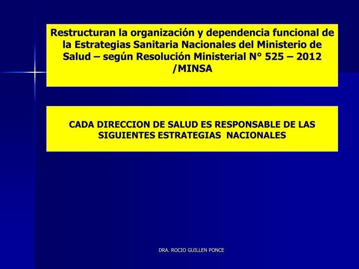 Restructuran la organización y dependencia funcional de la Estrategias Sanitaria Nacionales del Ministerio de Salud – según Resolución Ministerial N° 525 – 2012 /MINSA