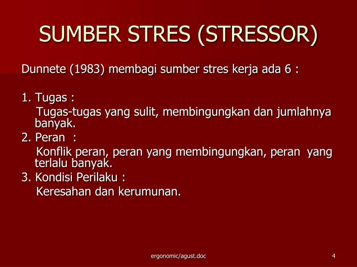 SUMBER STRES (STRESSOR)