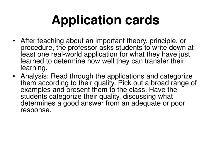 Application cards