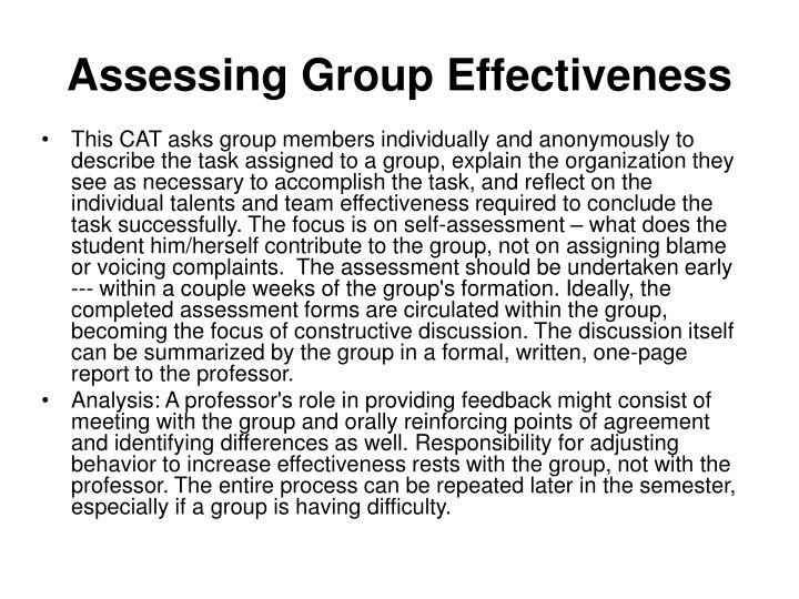 Assessing Group Effectiveness