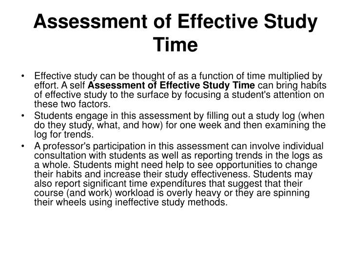 Assessment of Effective Study Time