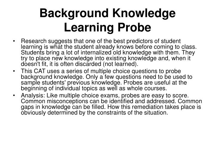 Background Knowledge Learning Probe