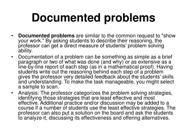 Documented problems