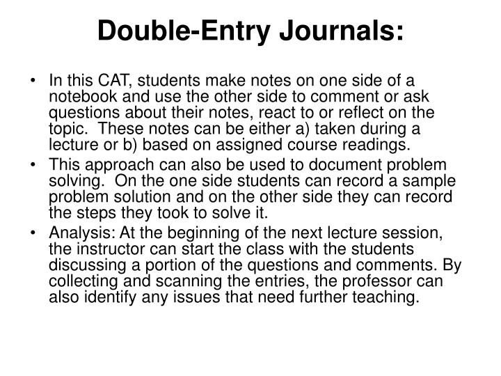 Double-Entry Journals: