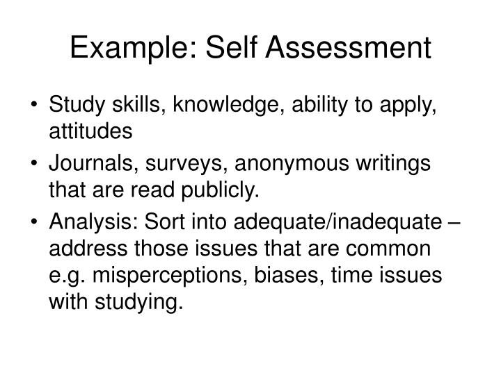 Example: Self Assessment