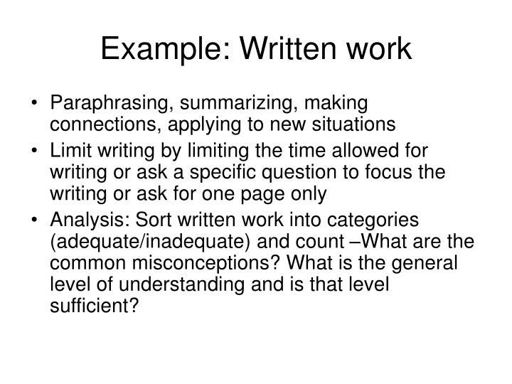 Example: Written work