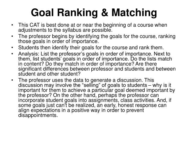 Goal Ranking & Matching