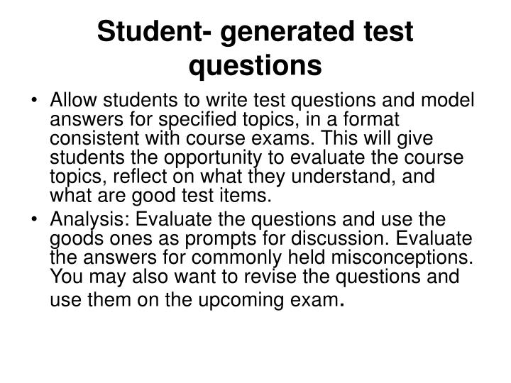 Student- generated test questions