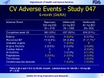 cv adverse events study 047 6 month oa ra