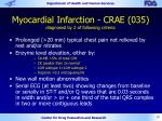 myocardial infarction crae 035 diagnosed by 2 of following criteria