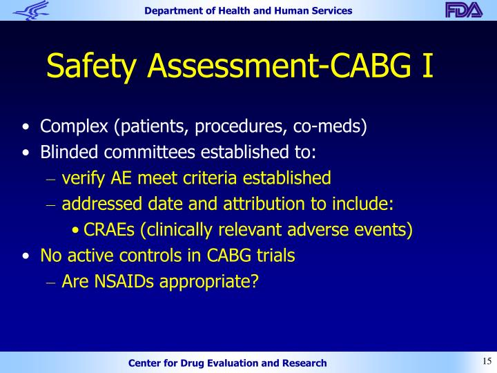 Safety Assessment-CABG I