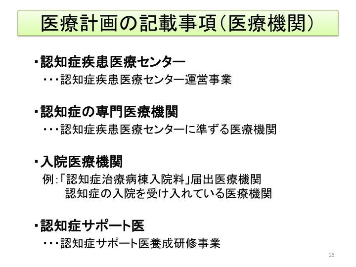 医療計画の記載事項(医療機関)