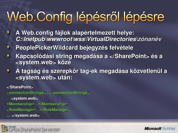 Web.Config lépésről lépésre