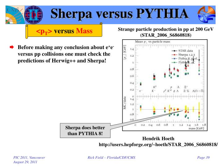 Sherpa versus PYTHIA