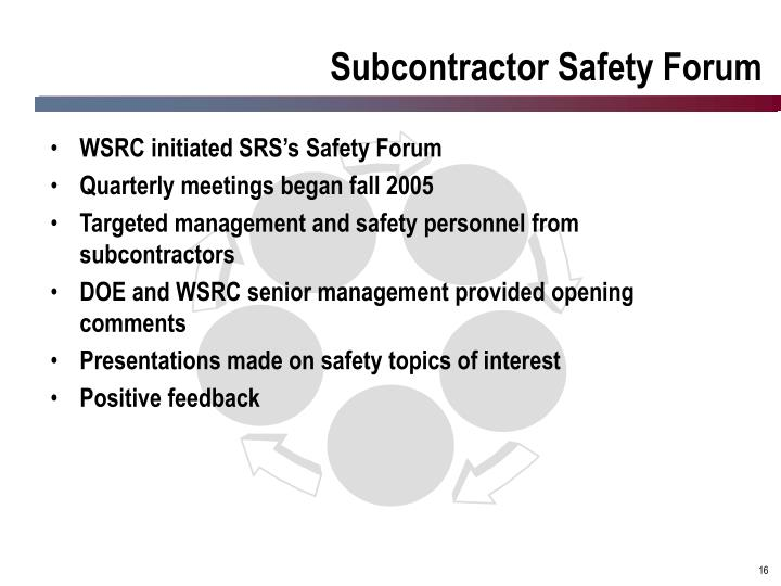 Subcontractor Safety Forum