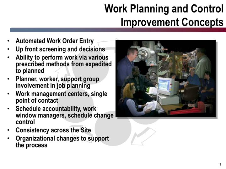 Work planning and control improvement concepts