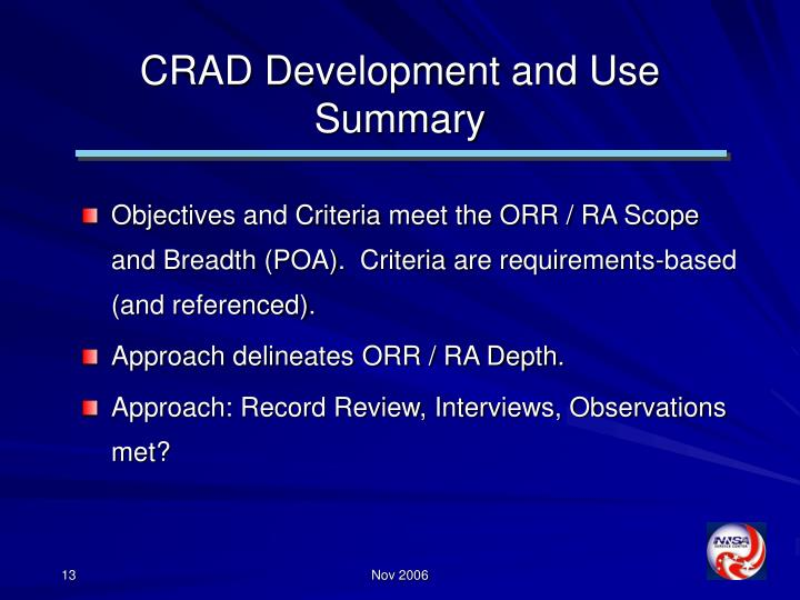 CRAD Development and Use Summary