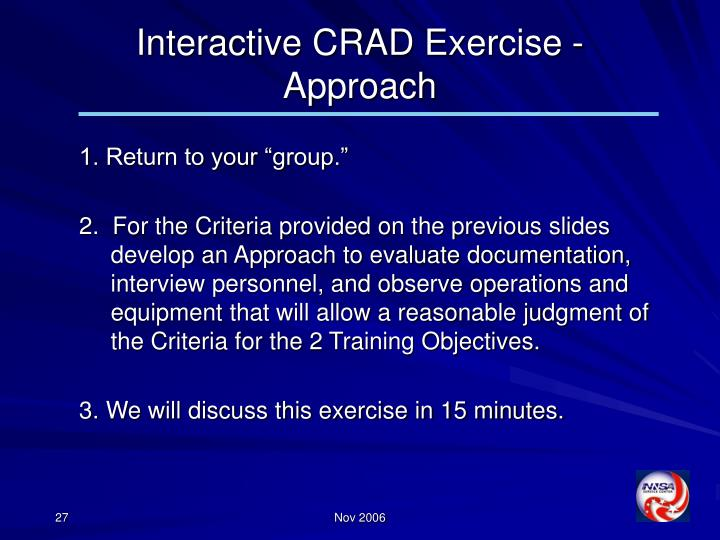Interactive CRAD Exercise -