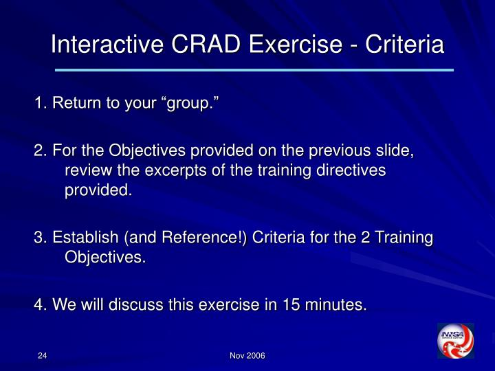 Interactive CRAD Exercise - Criteria