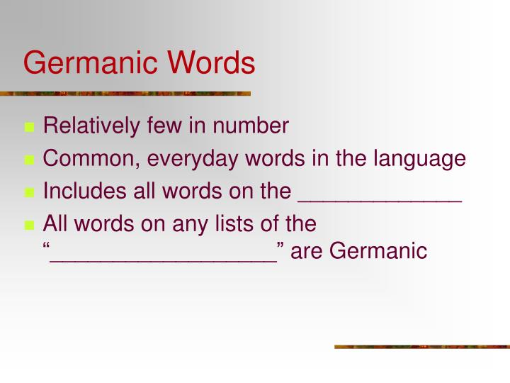 Germanic Words