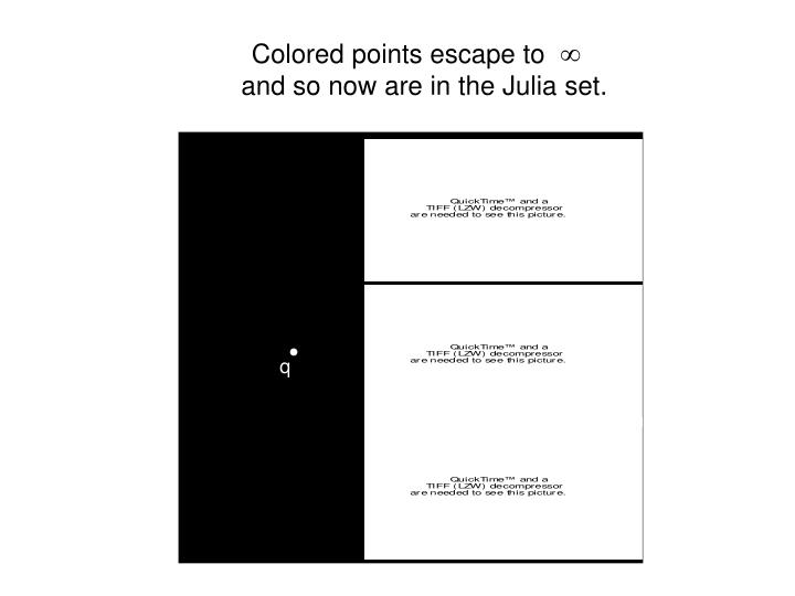 Colored points escape to