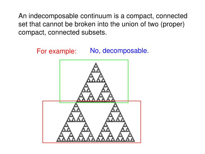 An indecomposable continuum is a compact, connected