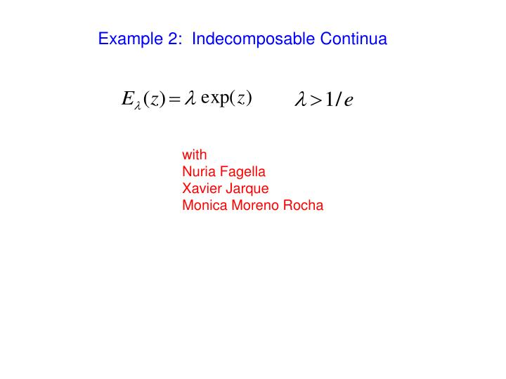 Example 2:  Indecomposable Continua